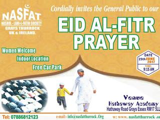 Eid Al Fitr Prayer Announcement