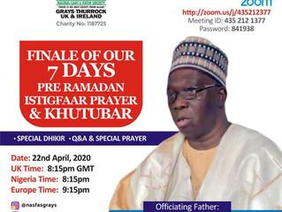 Finale of Our 7day Pre Ramadan Prayer