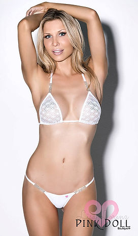 White Crystal Lace, Sheer Triangle Top Bikini