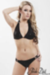 Sequin Knockout, Black Brass Knuckle Scrunch Bikini