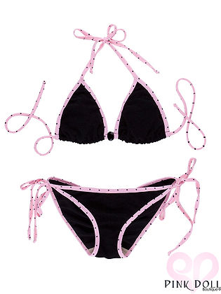 Sparkling Pink Polka Dot Trim Gemstone Bikini