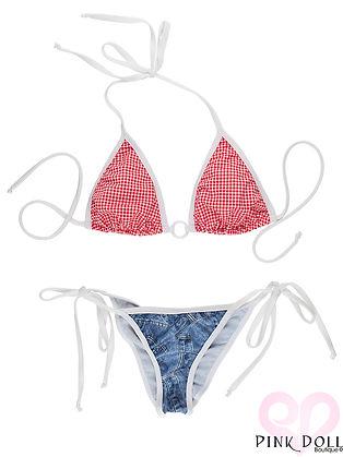 Red Gingham Girl Ring Bikini