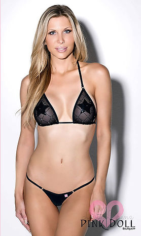 Black Diamond Sparkle Mesh, Sheer Triangle Top Bikini