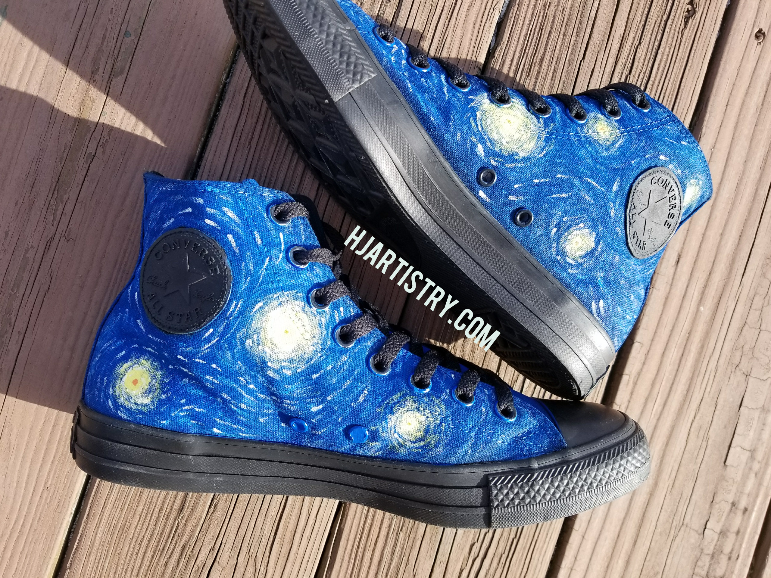 87148dd7d76f5 Starry Night Painted Shoes- Converse High Tops