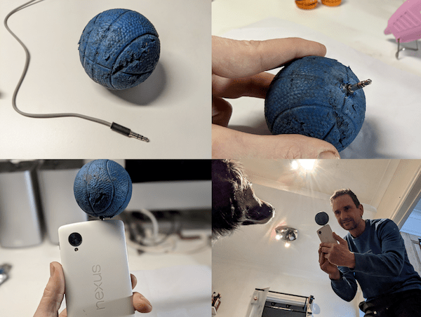 make your own dog selfie photo ball attachment