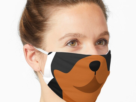 Confuse your dog by wearing their face on your mask!