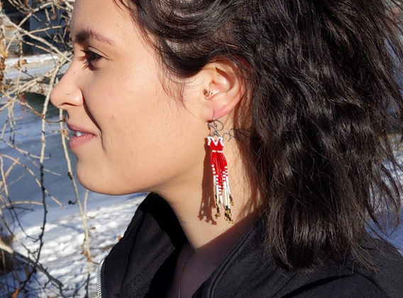 Red Dress Inspired Earrings, typical size