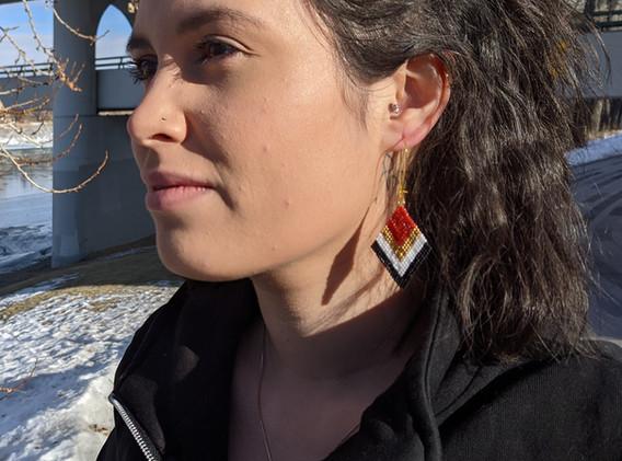 Large Diamond Shaped Beaded Earrings