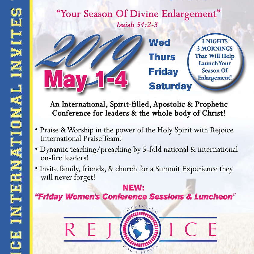"May 1-4, (Wed - Sat) Rejoice International ""GO GLOBAL SUMMIT"" 2019 in Olive Branch, MS"