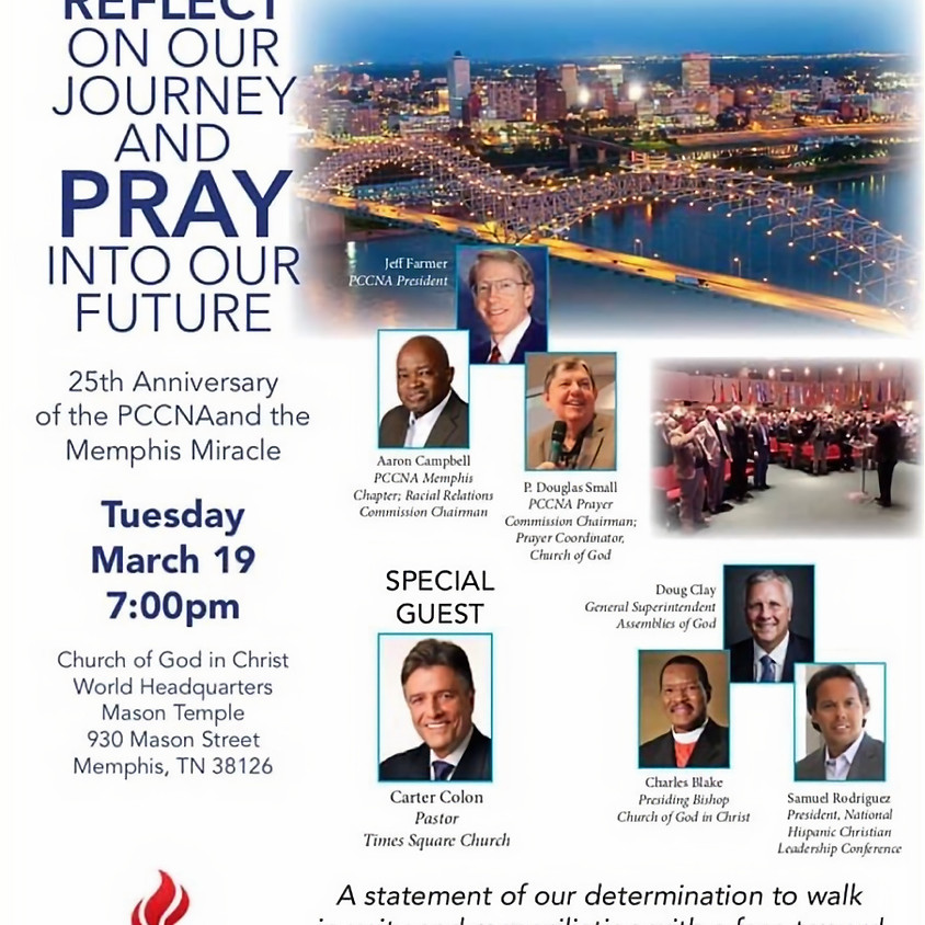 Tues 3-19, 7 PM - Celebration Of Reconciliation Anniversary Service with PCCNA, Memphis TN