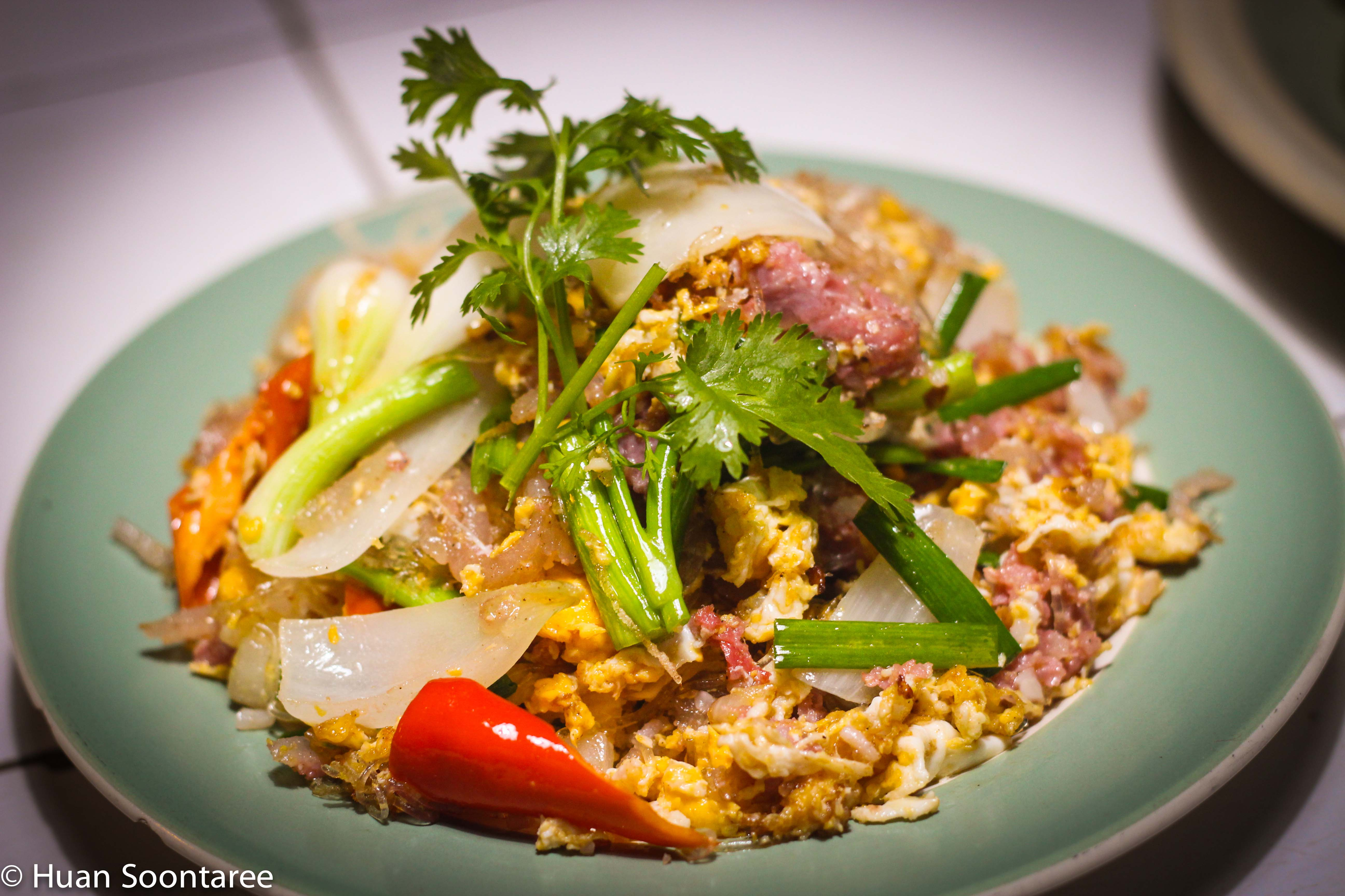 13 Sour pork fried with eggs and glass noodles