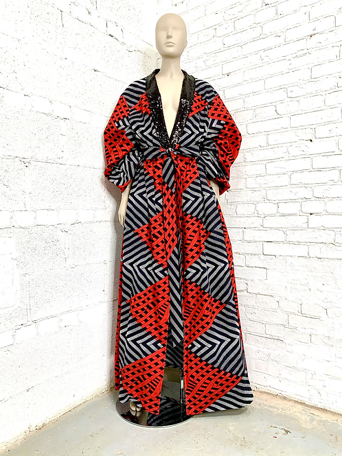 Unisex Red and Black Regal Robe