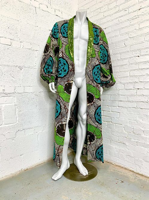 Unisex Green and Teal Regal Robe
