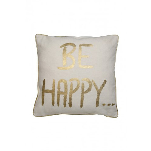 Be Happy Cushion - Gold