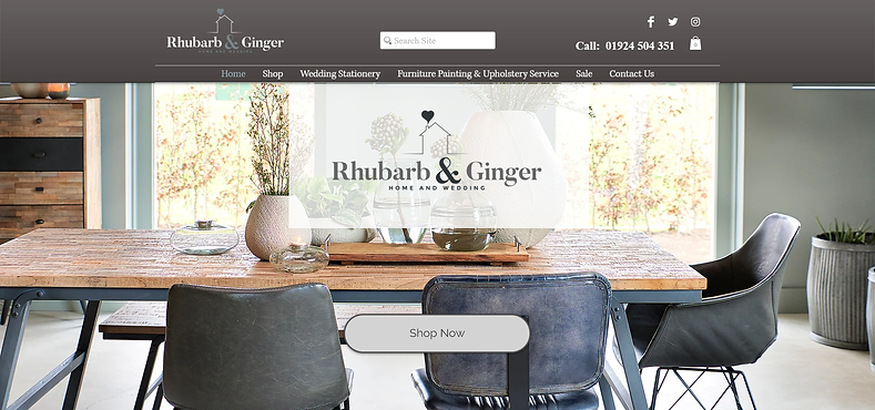 Rhubarb and Ginger e-commerce website screenshot displaying home furnishings for sale.