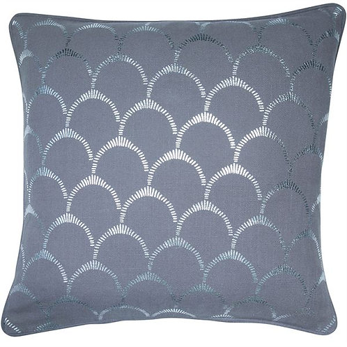 Scallop Cushion Grey & Silver