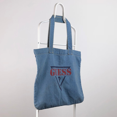 Vintage Guess Jeans Denim Tote Bag Thick Strong Circa 1990 S Good Condition Faint Marks That Will Wash Out Measurements 21 Wide 18 5