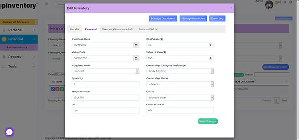 Pinventory Home Inventory Edit Screen