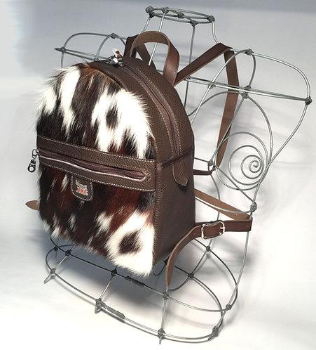 City-Rucksack  Kuhfell /Leder mit Appenzeller Kuh-Ornament