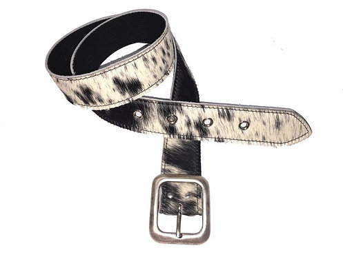 Kuhfell Gürtel, 4 cm breit,  Schnalle in Alt-Silber