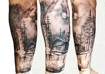 forest tattoo black and grey london