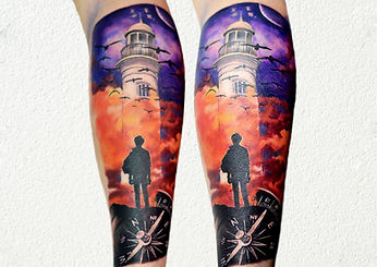 color tattoo compass lighthouse