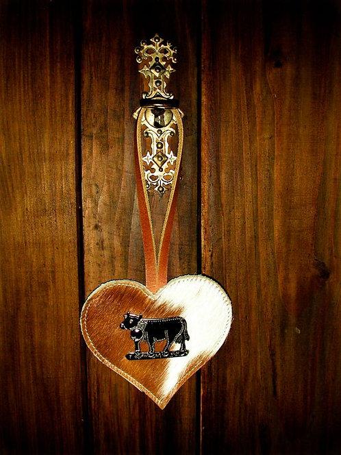 Deko Herz mit Kuh-Ornament
