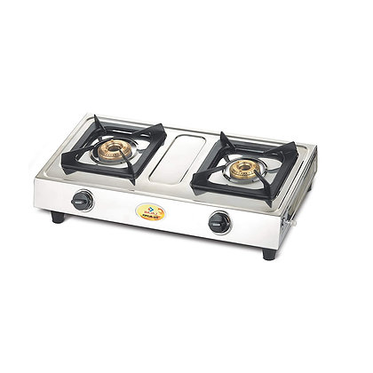 Bajaj Popular Eco, 2-Burner Stainless Steel, ISI Certified, Gas Stove (Black)
