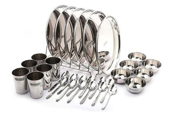 Stainless Steel (Heavy) Mirror Finish Happy Dinner Set