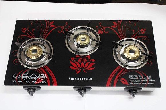 Suryya Crystall 3 Burner Automatic Ignition Glass Top Gas Stove