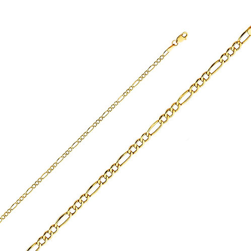14k Yellow Gold 2.6-mm Hollow Figaro Chain Necklace