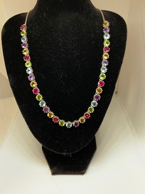 Bezel stone multi color necklace