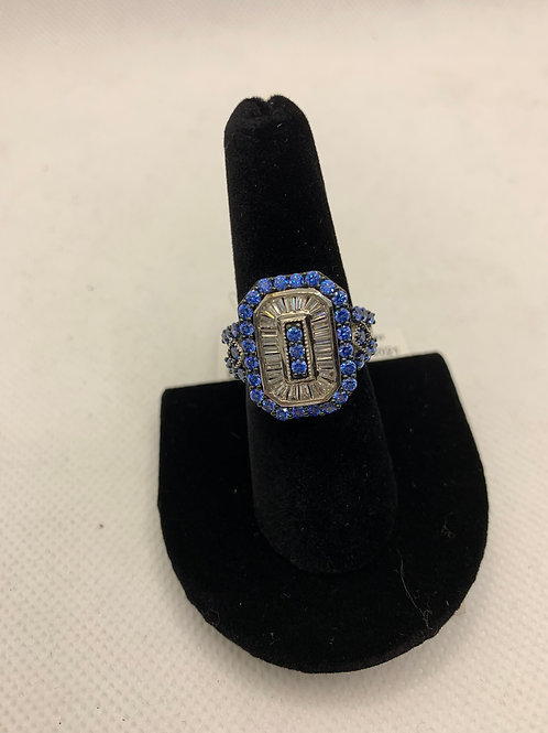 Sterling silver ring with Blue & CZ stones
