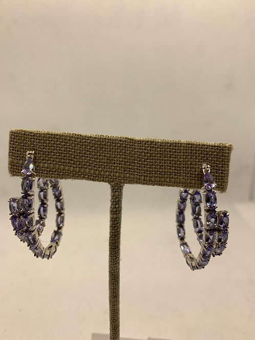 Sterling silver with Iolite stones double hoop