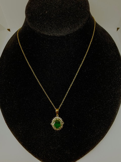 Green Center Stone necklace on gold plated chain.