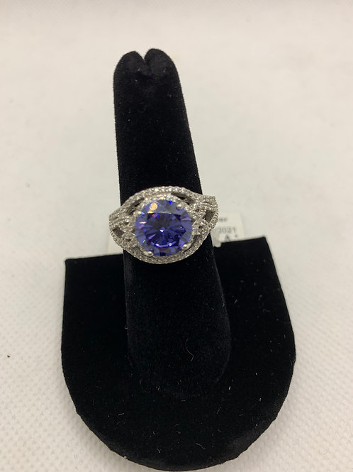 Sterling silver Iolite & CZ stones ring