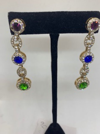 Multi Stone Bezel Dangle