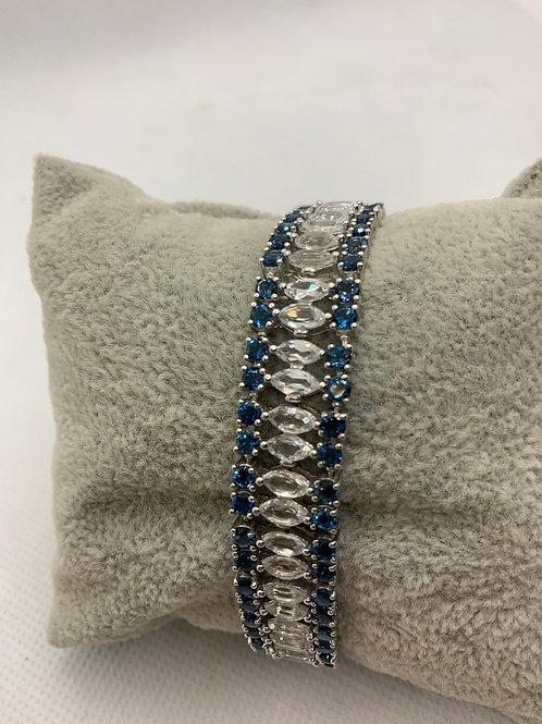 Sterling Silver w/Blue Stones Marquee Bracelet