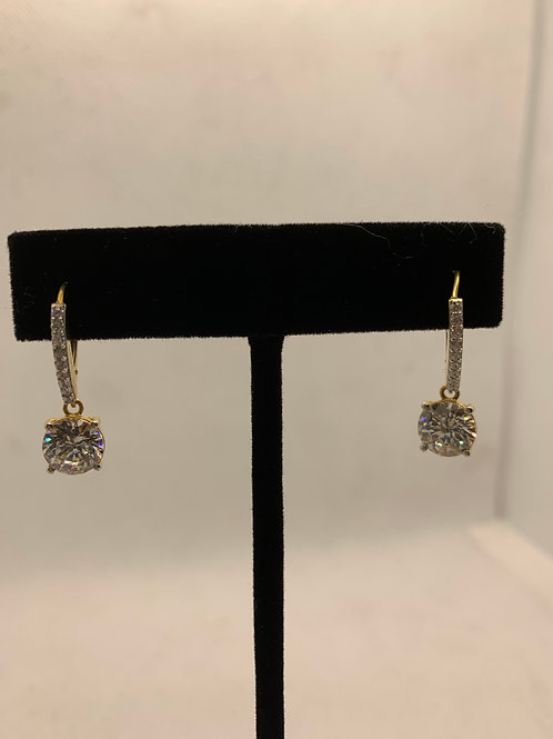 Gold over Sterling silver CZ earrings