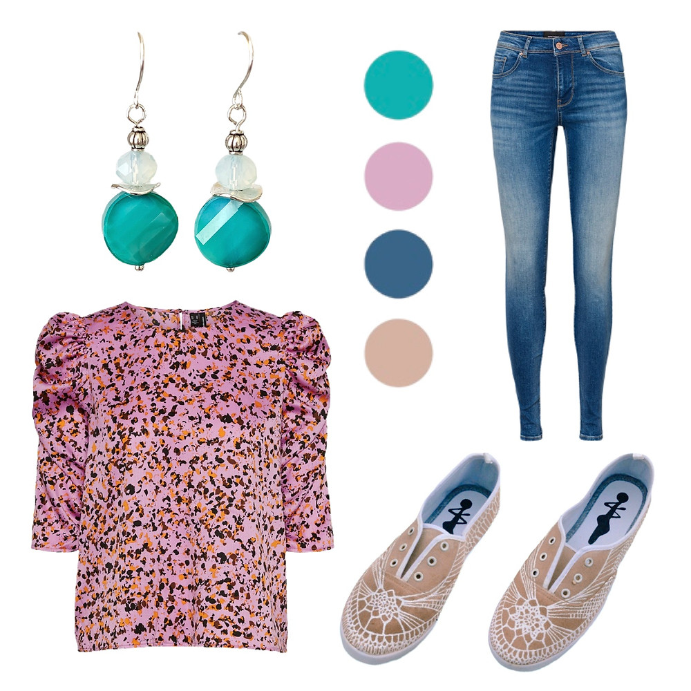 cute-casual outfit inspiration - tuquoise glass earrings, violet open-neckled blouse, denim jeans, and hand-painted canvas shoes
