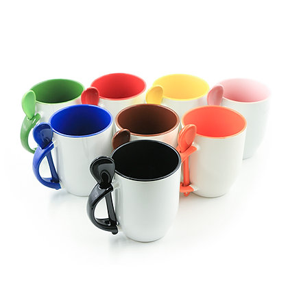12oz Ceramic Mug with colorful spoon, handle and interior