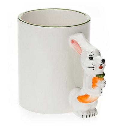 11oz White Ceramic Mug with custom bunny handle
