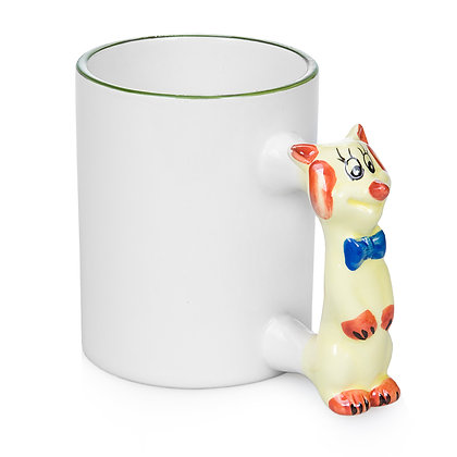 11oz White Ceramic Mug with custom cat handle