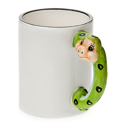 11oz White Ceramic Mug with custom snake handle