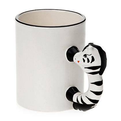 11oz White Ceramic Mug with custom horse handle