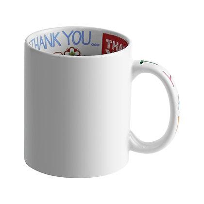 """11oz Ceramic Mug with """"Thank You"""" message"""