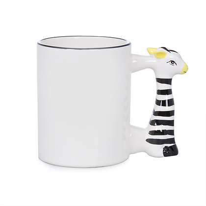 11oz White Ceramic Mug with custom zebra handle