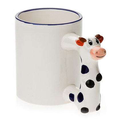 11oz White Ceramic Mug with custom cow handle