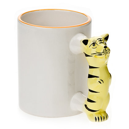 11oz White Ceramic Mug with custom tiger handle