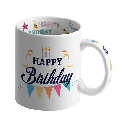 "11oz Ceramic Mug with ""Happy Birthday"" message"
